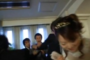 oriental bride receives hardcore group fucking