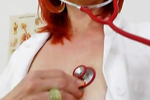 milada, the sexy mommy nurse, examines her pink