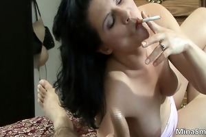 astounding brunette honey smokes a cigarette part4