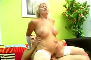 stockinged golden-haired granny drilled