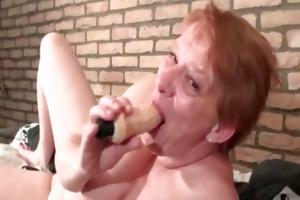crazy aged woman engulfing biggest dildo part3