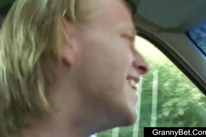 old granny screwed in the car