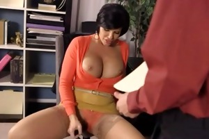 breasty shorthaired aged office fuck