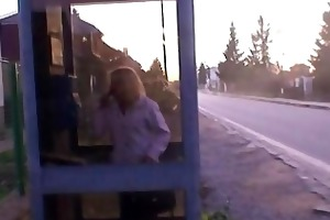 guy picks up golden-haired granny and bangs her