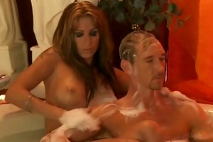 exotic blond mother i rubs her man