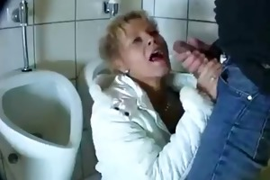 youthful lad bonks a mature in a public washroom