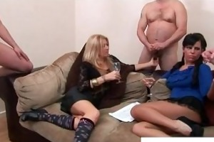two mature ladies and studs at a shlong fuckfest