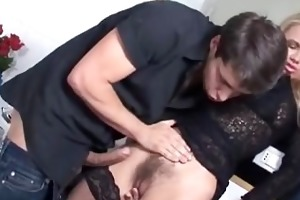 hirsute golden-haired mother i in dark nylons