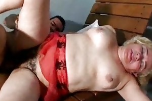chubby older nymph acquires her curly wet crack