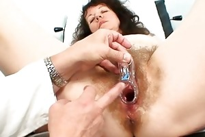 old older bitch receives her curly examined at