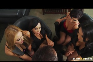 four hawt breasty asian bitches in sexy fuckfest