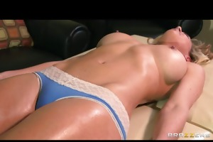 breasty blond d like to fuck acquires an oily