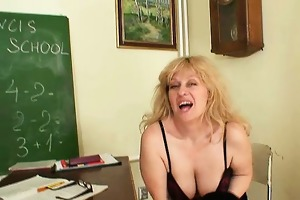 hot blond non-professional mama wears stockings
