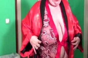 excited older teasing her large meatballs