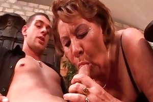 sexually excited 50yo granny sucks on a young