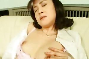 lewd asian wife masturbating in stockings