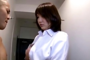 breasty office lady giving handjob for undressed