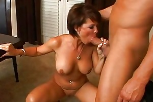sexy brunette hair milf with large tits engulfing