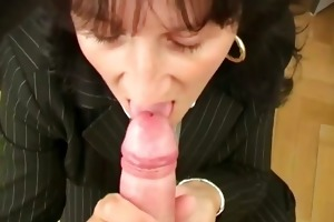 mature secretary giving pov oral-service