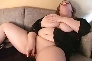 hawt large breasted mother i fatty masturbates on