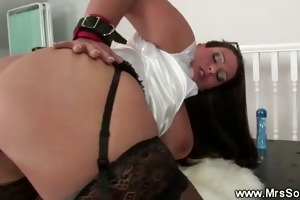 aged dominant-bitch takes control over fake penis