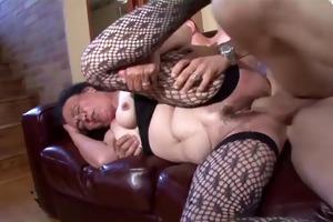 breasty dark brown granny receives naughty slit