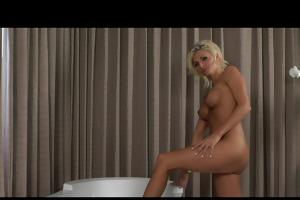 hot blonde pornstar, in tub, rubs her love tunnel