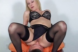 blond headmistress in bikini facesits a fellow