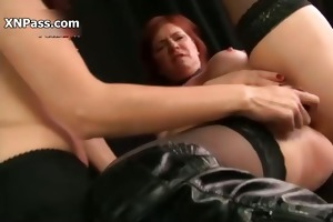lustful mature lesbo receives her cookie vibrator