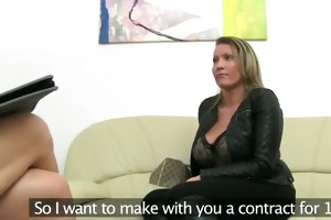 aged woman fucking on leather bed