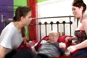 sweethearts straps down grandad to sofa