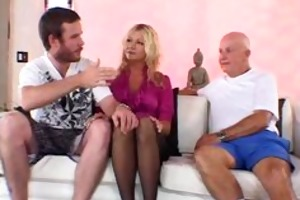 horny blond wife craved for a giant knob