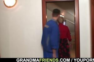 repairmen team fuck busty grandma from one as