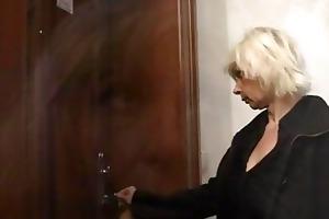 blond granny allows him drill her fur pie