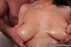 soccer mamma with large love melons acquires
