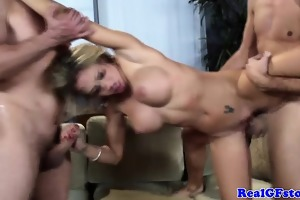 bigtit wife sprayed with cum after ffm