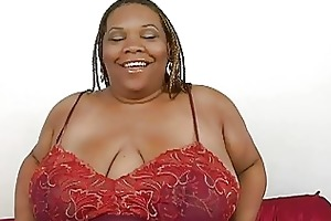 overweight swarthy momma with biggest bosom plays