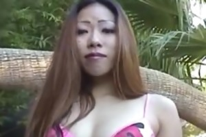 my oriental wife suck me near the pool