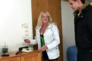 guy picks up blond granny and bangs her