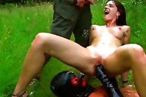 fisting and pissing on the hawt slut outdoors