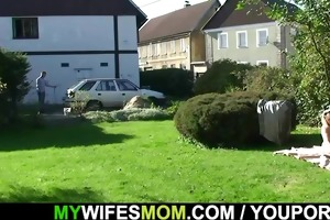 granny rides her son-in-law rod outdoor