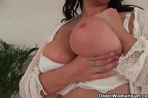 older housewife with large wobblers takes a