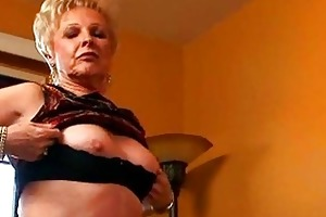 nasty blond granny showing juicy pussy