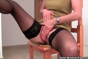granny in darksome nylons is dildoing her shaggy
