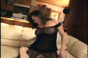 muff diving with a breasty honey in crotchless