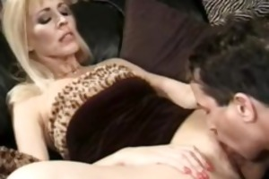 golden-haired cougar takes spunk flow