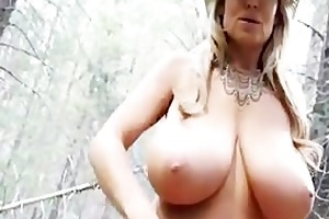 cowgirl with huge love melons fucking in the woods