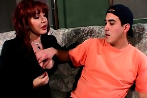 redhead sexually excited wife copulates delivery