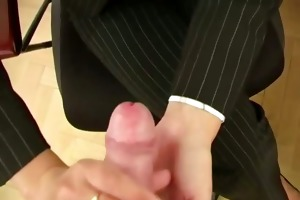 aged secretary giving pov oral-stimulation