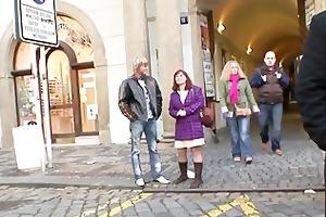 youthful lad bangs granny tourist